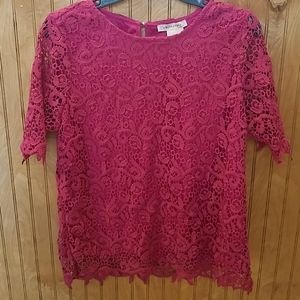 Pink Philosophy lace top size medium pearl accent